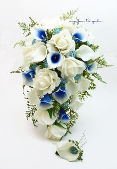 Royal Blue and White Cascade Bridal Bouquet Blue Picasso Callas White Roses, Turquoise Rhinestones Accents