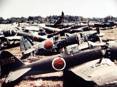 General view of wrecked Japanese Air Force planes at Atsugi Airport, Japan. September 1945
