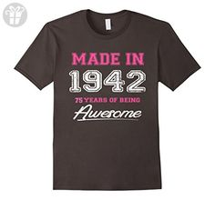 Mens Vintage 1942 75th Birthday 75 Years Old Gift T-Shirt 2XL Asphalt - Birthday shirts (*Amazon Partner-Link)