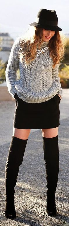 Grey Knit Sweater + Black Over the Knee Boots