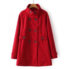 Stylish Women's Turn-Down Collar Long Sleeve Red Worsted Coat #shoes, #jewelry, #women, #men, #hats, #watches, #belts