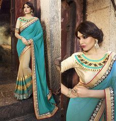 Light Coffee & Firozi Color Georgette Party Wear Sarees : Panishka Collection  YF-41374