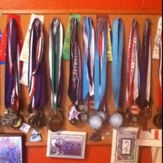 Bulletin board for displaying medals.