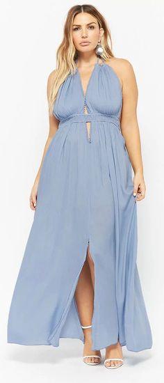 a45a38448e8 Plus Size Boho Plunging Maxi Dress Plus Size Spring Dresses