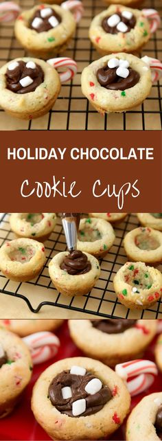 These Holiday Chocolate Cookie Cups are sugar cookies, chocolate fudge and candy canes in a festive holiday theme! They are great additions to a holiday party and disappear fast! They also work just as well as gift ideas or kids snacks…