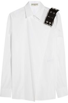 Balenciaga Leather-trimmed cotton-poplin shirt | NET-A-PORTER