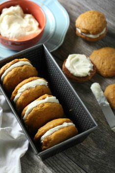 Cream Cheese Filled Pumpkin Whoopie Pies - Chocolate With Grace Soft Pumpkin Cookies, Pumpkin Whoopie Pies, Pumpkin Dessert, Woopie Pies, Baking Recipes, Cookie Recipes, Dessert Recipes, Thanksgiving Desserts Easy, Christmas Desserts