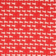 red Lecien oxford fabric with light cream red cat animal 2