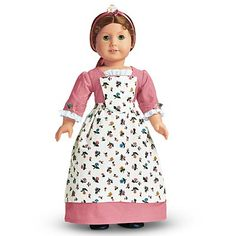 Spring Gown with Pinner Apron and Pompon-dress, apron, ribbon with pompon for her head, pins to pin the apron on.