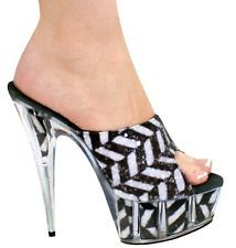Kitty Paws Shoes Black White Glitter Open Toe Animal Print Clear High Pumps