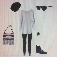 Laidback. Big jumper or shirt, leggings, hat, boots or pumps. Team with wavy loose hair.