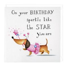 Dachshund Birthday Sparkle Greeting Card Happy Cards Sayings Lovely