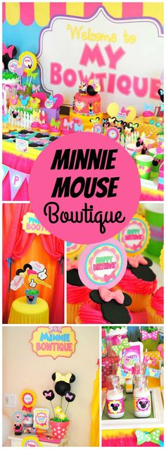 The girls all get together for this fun Minnie bowtique party! See more party ideas at CatchMyParty.com!