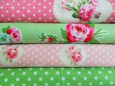 Shabby Chic Green and Pink Polka Dot Floral Fat Quarter Bundle-fabric, fat quarter, bundle, floral, lecien, flower, sugar, sewing, crafts, supplies, stripes, pink, green, yellow, seam binding, satin rose