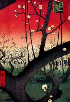 Utagawa Hiroshige - red tree scape with blossoms