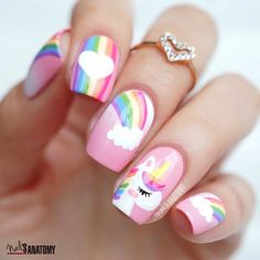 50 Magical Unicorn Nail Art Designs - Many people have a passion for unicorn nails. And Unicorn nails are becoming a unique trend. Little Girl Nails, Girls Nails, Baby Girl Nails, Cute Nail Art, Cute Nails, My Nails, Girls Nail Designs, Cute Nail Designs, Unicorn Nails Designs