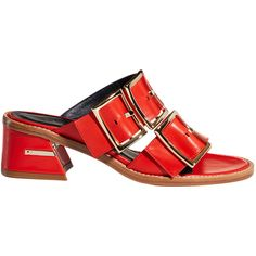 Tibi Kari Sandals (£395) ❤ liked on Polyvore featuring shoes, sandals, ribbon red, strappy leather sandals, red strappy shoes, red leather shoes, leather strap sandals and red strap sandals