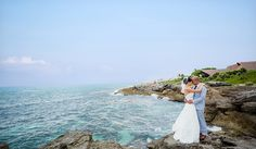 Amazing bridal portrait next to the sea at Occidental Grand Xcaret.