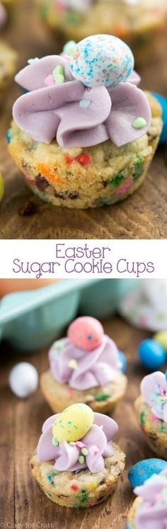 Easter Sugar Cookie Cups filled with sprinkles and topped with candy eggs! An easy and fast Easter dessert that the kids will love. by allyson