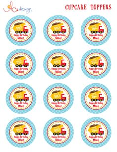 Dump Truck Cupcake Toppers
