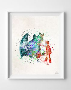 How To Train Your Dragon Print Hiccup Watercolor by InkistPrints