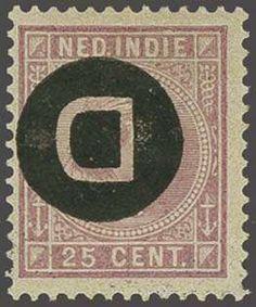 Netherlands Indies 25 cent lila met variëteit kopstaande opdruk, pracht ex., gesigneerd Hekker en Evert Kroon en met certificaat Muis 1990, cat.w. 500  Dealer ...