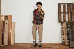 Outlands x 10.Deep Drop #2 2016 Fall Patchwork Flannel Stripe Camo L/S Tee D Link Belt Double Up Trouser