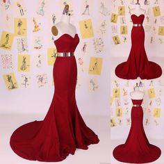 Buy New Arrival Long Prom/Evening Dress - Red Mermaid Gold Sash Mermaid Prom Dresses under $139.99 only in Dressywomen.