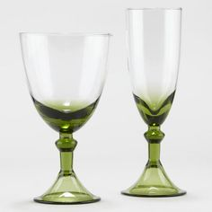 nspired by traditional Venetian glass, our Green Sofia Drinkware Collection exudes cool sophistication and elegance at a reasonable price. Each piece, with its rich blue stem and base, makes a striking addition to any dinner table.