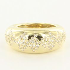 Estate 14 Karat Yellow Gold Diamond Cocktail Ring Fine Jewelry Pre-Owned Used $2750