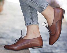 Las mujeres cuero, cuero de Oxford, Oxford zapatos, zapatos de cuero, pintados a cerraron, zapatos marrones, hecho a mano, el envío libre