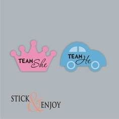 24 Gender Reveal Party Stickers, Team She and Team He Labels. Crown and Car Shaped Sticker, Labels Gender Party, Baby Gender, Gender Reveal Games, Baby Shower Desserts, Third Baby, Personalized Labels, Reveal Parties, Having A Baby, Future Baby