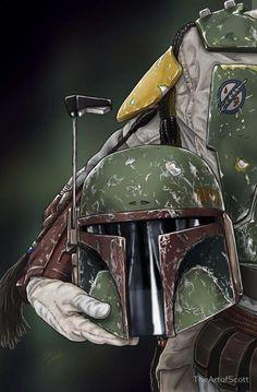 Star Wars: Boba Fett Helmet by The Art of Scott Star Wars Fan Art, Theme Star Wars, Wallpaper Darth Vader, Star Wars Wallpaper, Boba Fett Wallpaper, Images Star Wars, Star Wars Pictures, Boba Fett Helmet, Star Wars Boba Fett