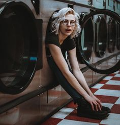 WEBSTA @ annacaroom - Watching the inauguration feels like the prequel to the Hunger Games, ill be hiding in here for the next four to eight years (::Photographed by @dor13n ...#model #pdxmodels #portraitpage #laundromat #grlfrnd #grlfrnddenim #urbanoutfitters #uoonyou #postmypicsticks #hidingplace #revolve #revolveme #style #fashion #portland #shoot2kill #whitehair #foureyes