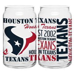 This Houston Texans Glass Spirit Glass Set features two unique can shaped glasses decorated with a variety of colorful team logos, dates and wordmarks. This officially licensed team glass set Texans Football, Nfl Houston Texans, Nfl Football Schedule, Bulls On Parade, Sports Toys, Best Fan, Cool Things To Make, New Orleans, Team Logo