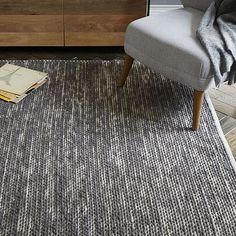 Painter's Cotton + Wool Rug - Feather Gray 6' x 9' $199. Hand woven. 60% cotton, 40% wool in Feather Gray. Cotton base.