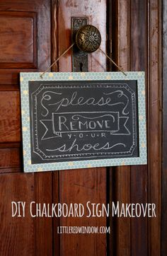 DIY Chalkboard Sign Makeover | littleredwindow.com | Makeover a $1 chalkoard into a cute sign for your entryway!