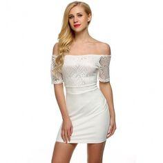 Women Casual Boat Neck Short Sleeve Lace Patchwork Slim Bodycon Mini Dress