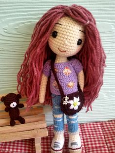Cute crochet doll with her tiny amigurumi bear. (Inspiration).