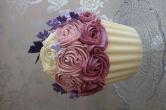 Purple ombre giant cupcake cake.    Second test GCC with a vanilla sponge & white chocolate case.