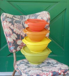 Vintage Four Piece Tupperware Bowls with Lids by valleyofvintage