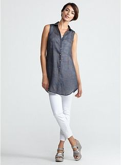 Just got this shirt and love it.Classic Collar Tunic in Illusion Printed Ramie