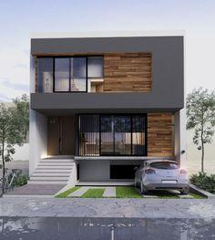 Casa L Zapopan, Jalisco Proyecto CarlozChavez arquitectos House Front Design, Modern House Design, Small Modern Home, Duplex House, Bedroom House Plans, House Elevation, Facade Architecture, Facade House, Building A House