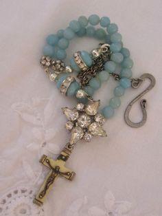 vintage repurposed assemblage jewelry necklace rosary crucifix rhinestone amazonite atelier paris. $125.00, via Etsy.