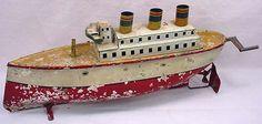 Rare Vintage German Ocean Liner Wind Up Toy