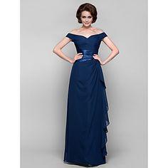 Sheath/Column Off-the-shoulder Floor-length Chiffon Mother of the Bride Dress – USD $ 98.99