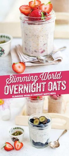 Make a batch of Syn Free Slimming World Overnight Oats to keep you going till lunchtime Supergolden Bakes Overnight Oats Chocolate, Low Calorie Overnight Oats, Basic Overnight Oats Recipe, Raspberry Overnight Oats, Dairy Free Overnight Oats, Overnight Oats With Yogurt, Slimming World Overnight Oats, Baked Oats Slimming World, Syn Free Breakfast