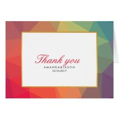 #wedding #thankyoucards - #Modern Rainbow Polygonal Geometric FAVOR Thank You Card