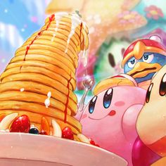 Kirby and pancakes by Three tide via Twitter