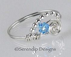 Petite March Birthstone Ring, Sterling Silver Argentium Wire Wrapped Ring with Aquamarine Swarovski Crystal, Birthstone Ring #wirewrappedringscrystal
